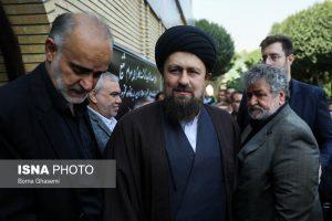 سید حسن خمینی در مراسم تشییع پیکر بهرام شفیع