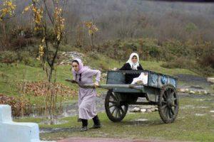 زنی با ارابه چوبی