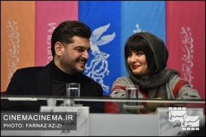 لیندا کیانی(بازیگر) و سام درخشانی(بازیگر) در نشست رسانهای فیلم «پالتو شتری» در هفتمین روز سیوهفتمین جشنواره فیلم فجر