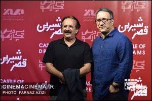 از راست رضا میرکریمی و مجید مجیدی در اکران خصوصی فیلم «قصر شیرین»