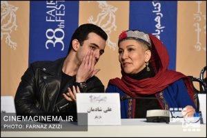از راست پانتهآ بهرام و علی شادمان در نشست خبری عوامل فیلم شنای پروانه در سی و هشتمین جشنواره فیلم فجر