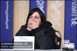 باران کوثری در نشست خبری عوامل فیلم «کشتارگاه» در سی و هشتمین جشنواره فیلم فجر