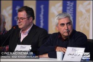 از راست ابراهیم حاتمی کیا و محمود گبرلو در نشست خبری عوامل فیلم «خروج» در هفتمین روز سی و هشتمین جشنواره فیلم فجر