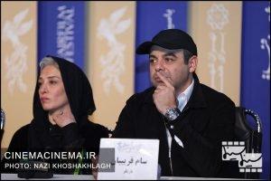 از راست سام قریبیان و پانتهآ پناهی ها در نشست خبری عوامل فیلم «خروج» در هفتمین روز سی و هشتمین جشنواره فیلم فجر