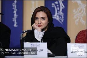 گلاره عباسی در نشست خبری عوامل فیلم «پدران» در هشتمین روز سی و هشتمین جشنواره فیلم فجر