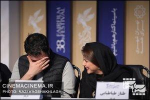 از راست طناز طباطبایی و جواد عزتی در نشست خبری فیلم «خورشید» در دهمین روز سی و هشتمین جشنواره فیلم فجر