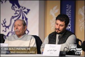 از راست جواد عزتی و علی نصیریان در نشست خبری فیلم «خورشید» در دهمین روز سی و هشتمین جشنواره فیلم فجر