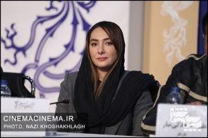 هانیه توسلی در نشست خبری عوامل فیلم بی صدا حلزون در سی و هشتمین جشنواره فیلم فجر