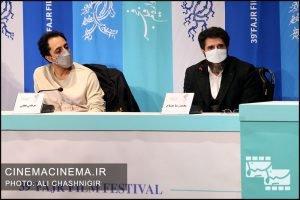 از راست محمدرضا مصباح و مرتضی نجفی در نشست خبری فیلم یدو در سی و نهمین جشنواره فیلم فجر