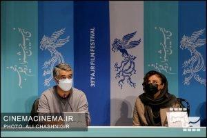 از راست مهلقا باقری و پژمان جمشیدی در نشست خبری فیلم شیشلیک در سی و نهمین جشنواره فیلم فجر