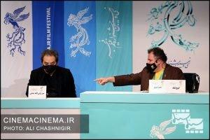 محمود گبرلو و میر ولی الله مدنی در نشست خبری فیلم گیجگاه در سی و نهمین جشنواره فیلم فجر