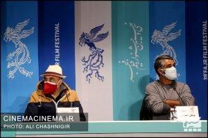 از راست پژمان جمشیدی و رضا عطاران در نشست خبری فیلم شیشلیک در سی و نهمین جشنواره فیلم فجر