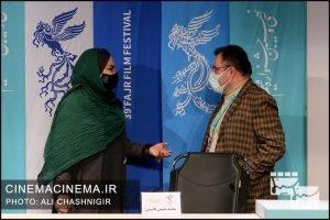 از راست محمود گبرلو و نرگس آبیار در نشست خبری فیلم ابلق در سی و نهمین جشنواره فیلم فجر