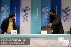 حامد بهداد و عادل تبریزی در نشست خبری فیلم گیجگاه در سی و نهمین جشنواره فیلم فجر