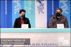 از راست علیرضا افکاری و ارسلان امیری در نشست خبری فیلم تی تی در سی و نهمین جشنواره فیلم فجر