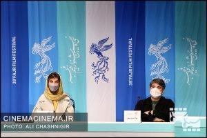 جواد نوروزبیگی و سارا بهرامی در نشست خبری روشن در سی و نهمین جشنواره فیلم فجر