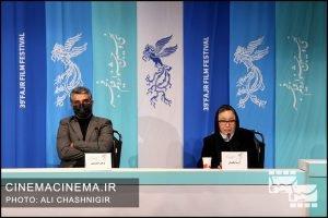 آزیتا حاجیان و پژمان جمشیدی در نشست خبری فیلم خط فرضی در سی و نهمین جشنواره فیلم فجر