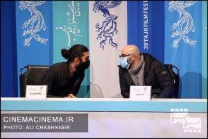 میثم مولایی و سیامک کاری نژاد در نشست خبری فیلم خط فرضی در سی و نهمین جشنواره فیلم فجر